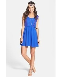 Blue Embroidered Casual Dress