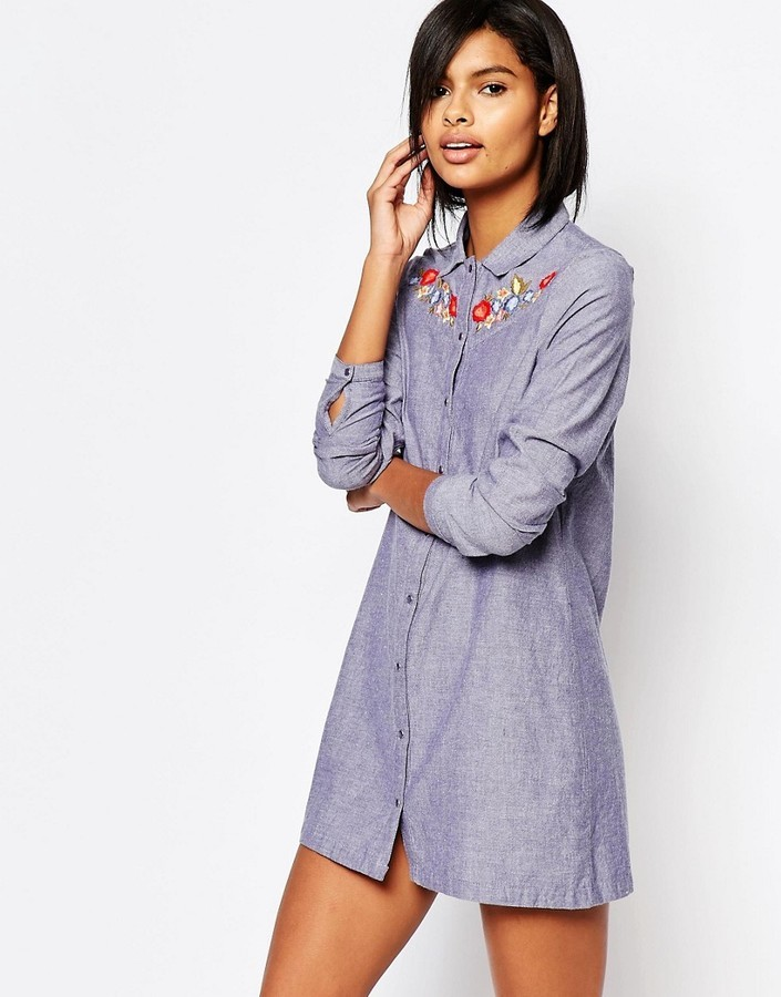 7e956fc2ad15 ... Vero Moda Embroidered Chambray Shirt Dress ...