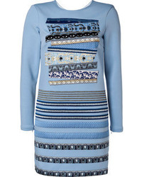 Embroidered sheath dress in pale blue medium 62251