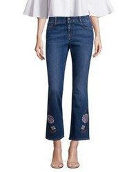 Stella McCartney Skinny Kick Flare Jeans Withfloral Embroidery