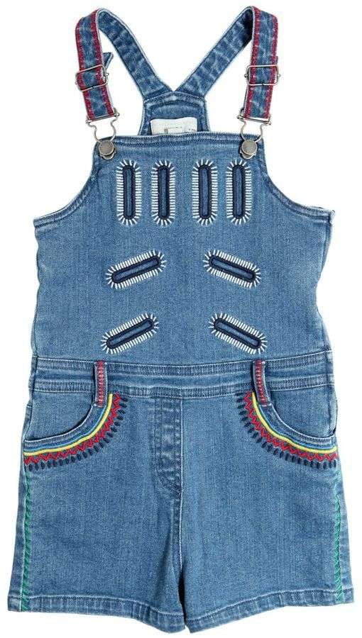 Stella McCartney Embroidered Stretch Light Denim Overalls