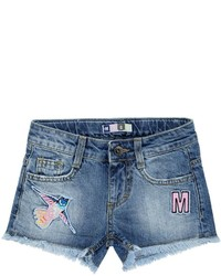 MSGM Embroidered Patches Cotton Denim Shorts