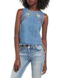 Scarlett embroidered denim tank top medium 4952082