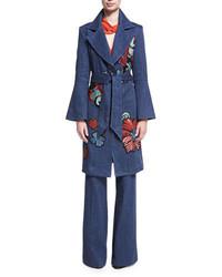Josie Natori Embroidered Denim Trench Coat