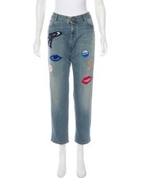 Stella McCartney 2016 Mid Rise Embroidered Jeans