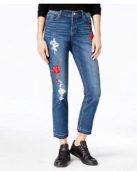 Black Daisy Juniors Ripped Embroidered Jeans