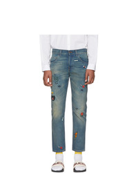 Gucci Blue Tapered Symbols Jeans