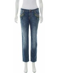 Versace Collection Mid Rise Embroidered Jeans W Tags