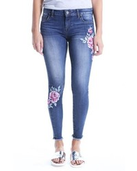 KUT from the Kloth Connie Embroided Frayed Hem Ankle Skinny Jeans