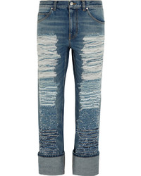 Alexander McQueen Distressed High Rise Straight Leg Jeans Mid Denim