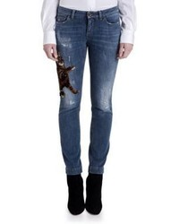 Dolce & Gabbana Embroidered Kitten Skinny Jeans