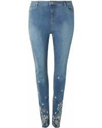 Dorothy Perkins Dp Curve Mid Wash Embroidered Jeans
