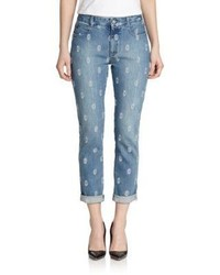 Stella McCartney Embroidered Cropped Boyfriend Jeans