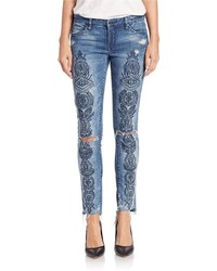 Blank NYC Embroidered Distressed Jeans