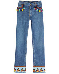 Etro Embroidered Jeans With Tassels