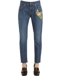 Gucci Embroidered Patches Cotton Denim Jeans