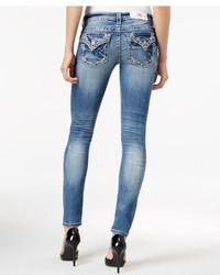 Miss Me Embroidered Rhinestone Medium Wash Skinny Jeans