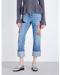 Alexander McQueen Embroidered Straight Cropped High Rise Jeans
