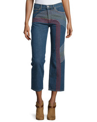 See by Chloe Embroidered Straight Leg Cropped Jeans Blue