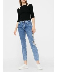 Mango Embroidered Straight Spring Jeans