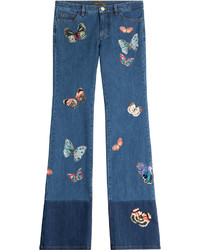Valentino Flared Jeans With Butterfly Patchwork