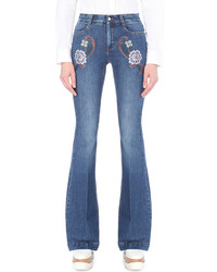 Stella McCartney Flared Mid Rise Embroidered Jeans
