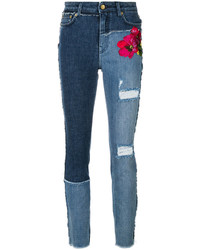 Dolce & Gabbana Floral Embroidered Distressed Skinny Jeans