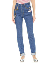 Marc Jacobs High Rise Jeans With Embroidery