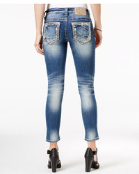 Miss Me Medium Blue Wash Embroidered Cropped Jeans
