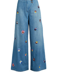 Christopher Kane Pansy Embroidered Wide Leg Jeans