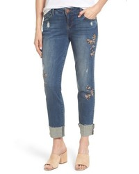 Petite flex ellent embroidered boyfriend jeans medium 6368261