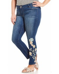 Jessica Simpson Plus Kiss Me Super Skinny Floral Embroidered Jeans