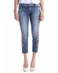 Reese embroidered straight leg raw hem jeans medium 7013190