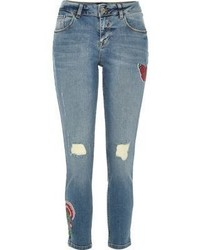 River Island Blue Embroidered Alannah Relaxed Skinny Jeans
