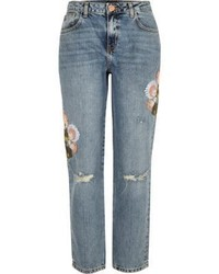 River Island Light Wash Embroidered Cigarette Jeans