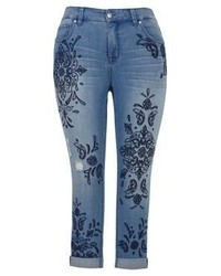 Melissa McCarthy Seven7 Plus Fernando Embroidered Cuff Jeans