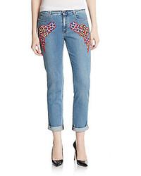 Stella McCartney Cloud Embroidered Slim Boyfriend Jeans