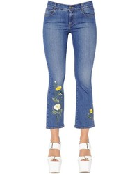 Stella McCartney Crop Flared Floral Stretch Denim Jeans