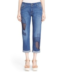 Stella McCartney Tomboy Embroidered Overlay Cutout Jeans