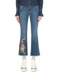 Stella McCartney Tiger Embroidered Flared Cropped Mid Rise Jeans