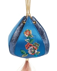 The Volon Metallic Cindy Embroidered Satin Leather Clutch