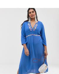 En Crème Plus En Creme Plus Midi Dress With Plunge Front And Embroidered Detail
