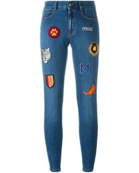 Blue Embroidered Skinny Jeans