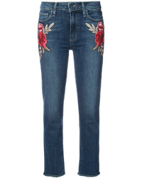Paige Embroidered Flower Skinny Jeans