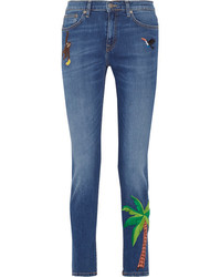 Mira Mikati Embroidered High Rise Skinny Jeans Mid Denim