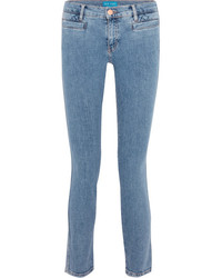 MiH Jeans Mih Jeans Paris Cropped Embroidered Low Rise Skinny Jeans Blue
