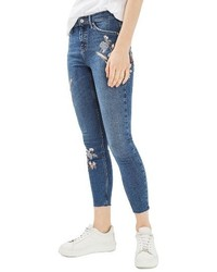 Topshop Moto Jamie Embroidered Skinny Jeans