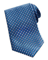 Houndstooth silk tie blue medium 44495