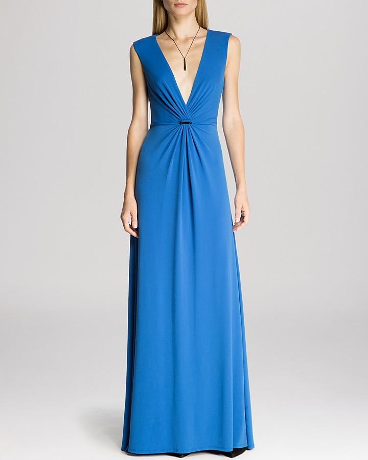20079b0e2f1d77 ... Evening Dresses Halston Heritage Gown Sleeveless Deep V Neck Twist  Front Drape ...