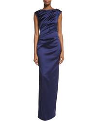 Komet cap sleeve ruched column gown medium 4016720